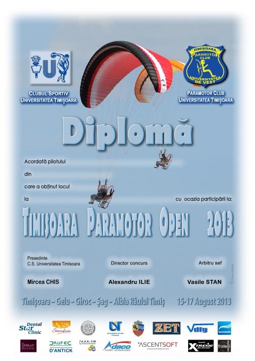 Diploma Timisoara Paramotor Open 2013
